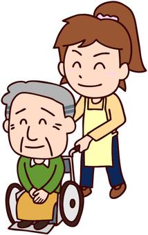推擠有祖父的婦女輪椅