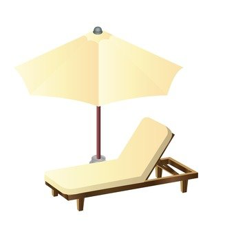 Deck chairs and umbrellas