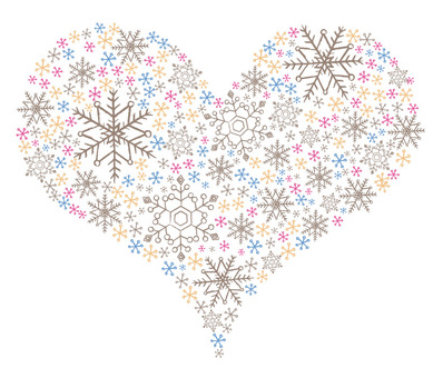 Heart made of snowflakes
