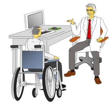 Listen to the doctor's explanation, elderly male in wheelchair