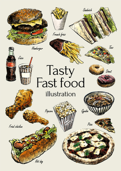 Delicious fast food illustration