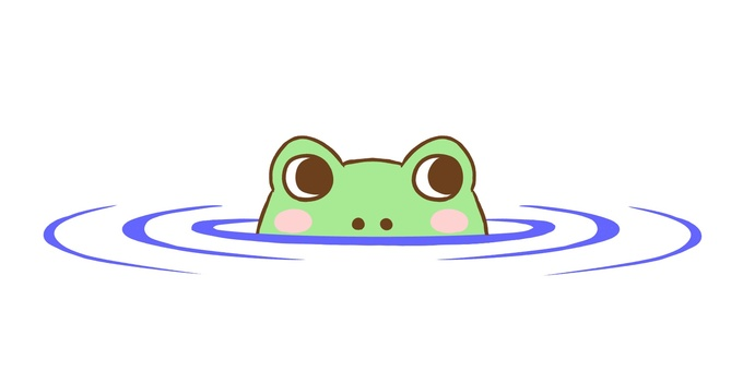 A frog that makes a face on the water