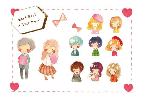 Illustration set of boys and girls