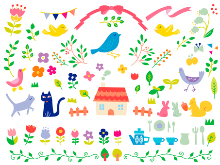 Plants and animals and cute accessories set