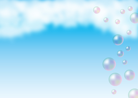 Sky and clouds with soap bubbles