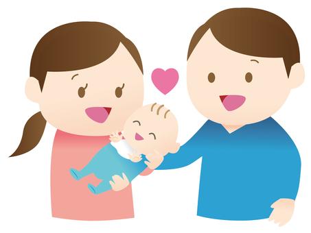 아기를 안는 여성과 남성