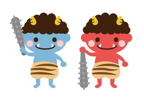 Cute red demon · blue demon