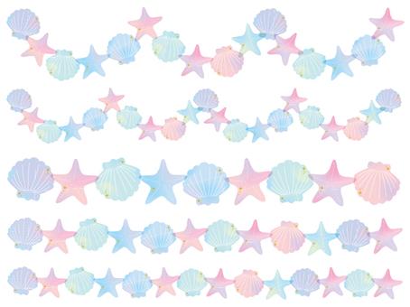 Seashell watercolor line