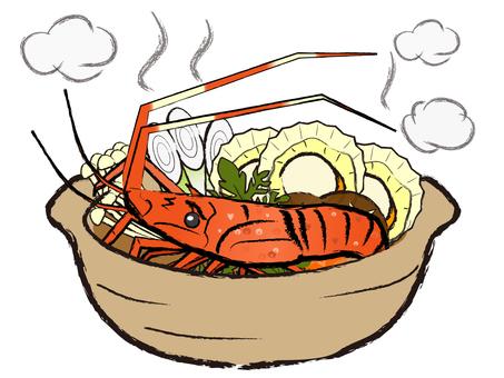 일본식 소재 냄비 해물탕