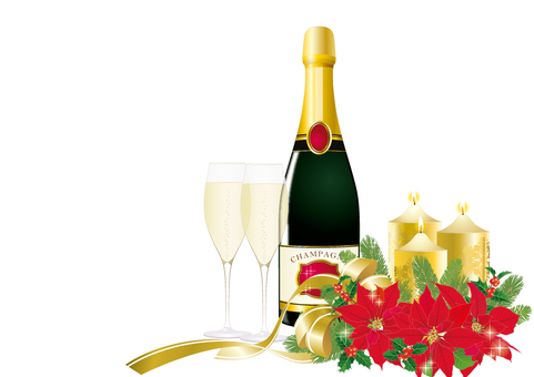 Xmas Arrange Red _ Champagne _ White background