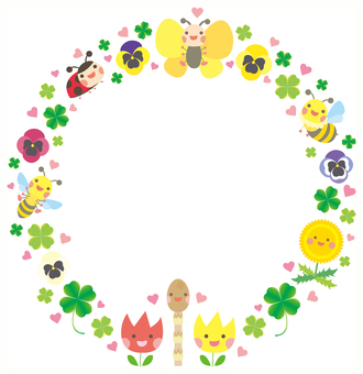 Cute Spring creatures and circular frame of plants