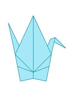 Folded paper crane