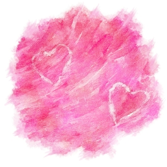 Pink color, Heart mark fly watercolor