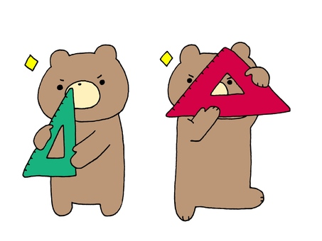 Triangular ruler and bear 1 2