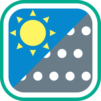 Weather icon sunny and snow