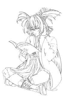 Maki Kashima, reading (line drawing)