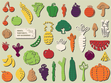 Hand-drawn vegetables and fruit sets