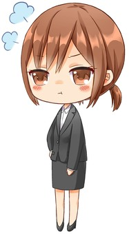Business woman, chibi character, get angry