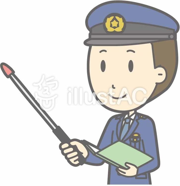 警察官男性a-指示棒2左斜-バストのイラスト