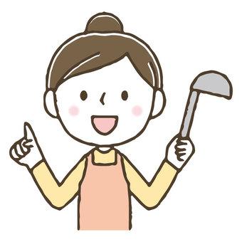 料理をするかわいい女性/主婦/家事