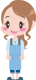 A woman in an apron