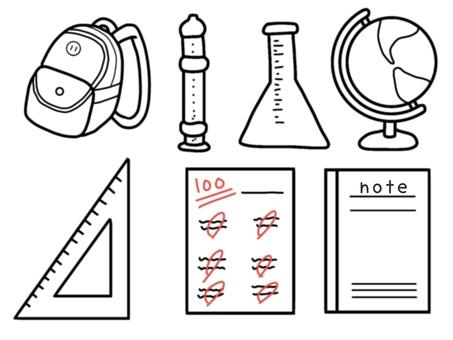 School supplies (monochrome)