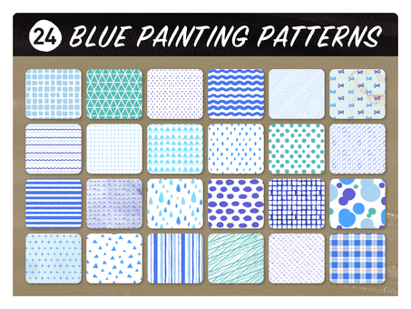 Hand-drawn wind seamless pattern 【blue】