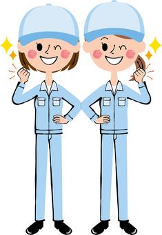 Guts pose worker female hat blue wink whole body