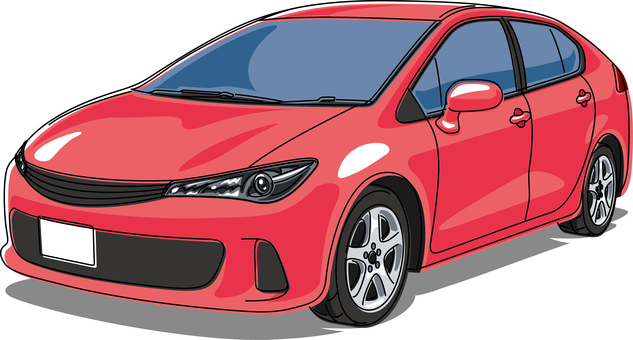 Car passenger car line drawing red