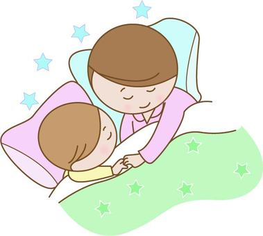 Mother sleeping child