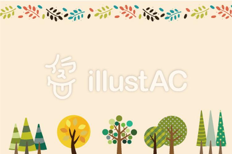かわいい秋の木フレームイラスト No 910392 無料イラストなら
