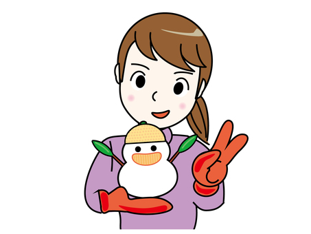 Snowman and girl (thin frame)