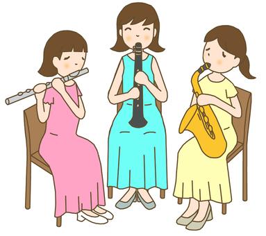 Wooden tube trio female line tea