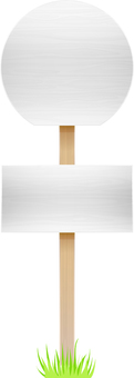 Wooden bus stop sign 2 white / with lawn