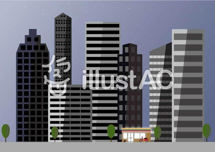 夜明けの街並みのイラスト