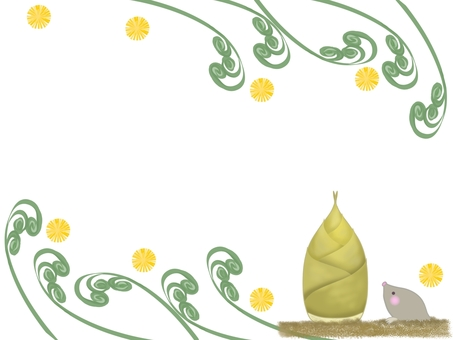 Frame illustration of bamboo shoots and bracken