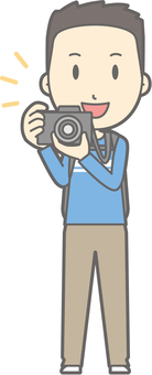 Male tourism youth a - camera - whole body