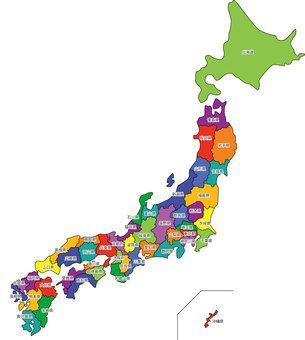 Japan map (by prefecture - with letters)