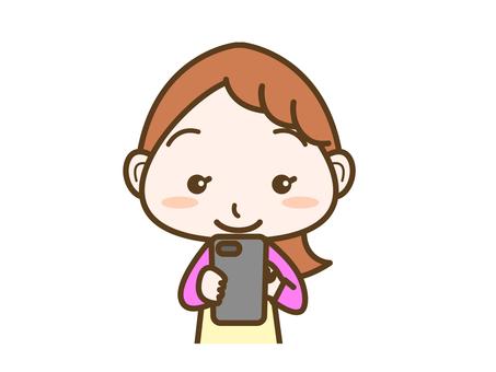 Female facial expression smartphone operation