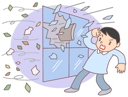 強風による窓ガラス破損.2