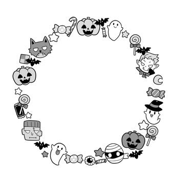Halloween circle frame (gray)