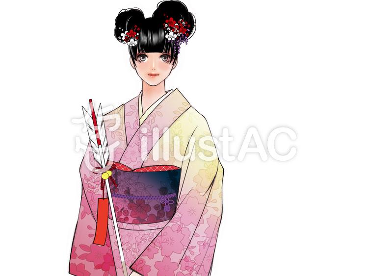 初詣に来た和服美少女、破魔矢のイラスト