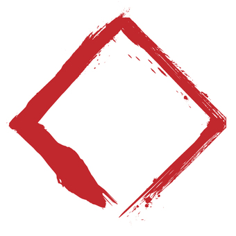 Square drawn with a brush · red