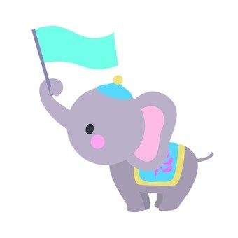 An elephant with a flag