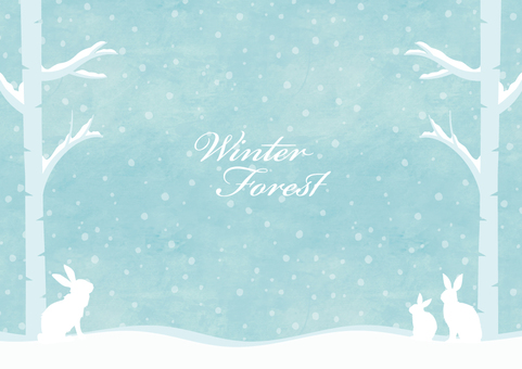 Winter background frame 008 Forest snow water color