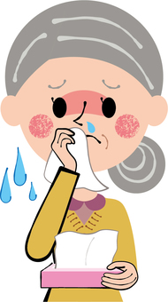 Granny wiping a runny nose with a cold runny nose tissue