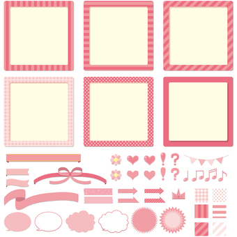 Labels, frames, balloons, ribbons, icon set