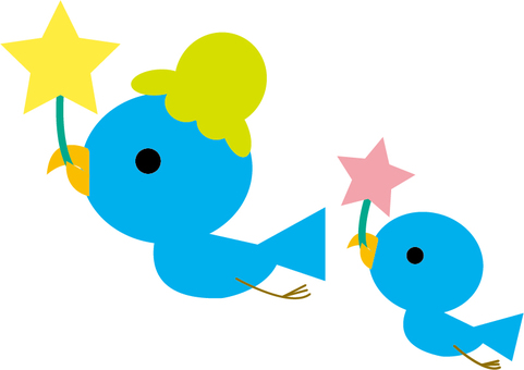 Happy blue bird during child rearing Parents and children carry stars
