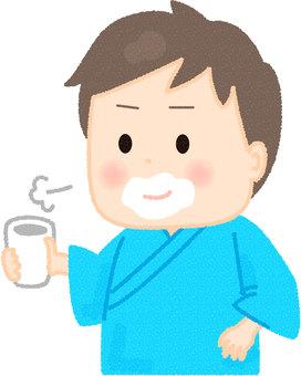 Male drinking barium