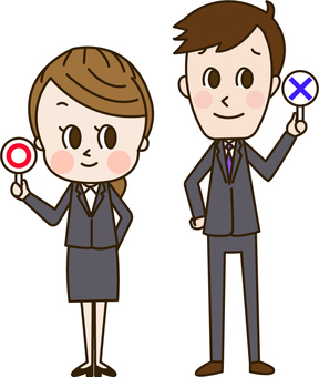 Men and women in suit with circle tag and punishment tag